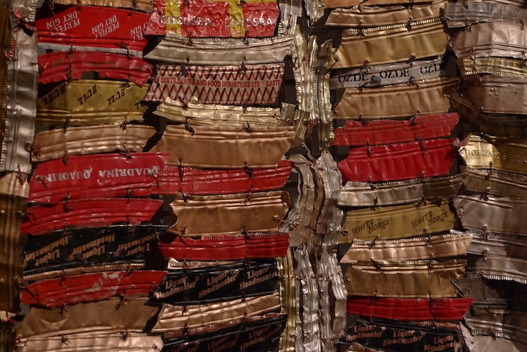 "Detail of ""Man's Cloth"" (1998-2001), by El Anatsui. British Museum, Department of Africa, Oceania and the Americas. Source: https://commons.wikimedia.org"