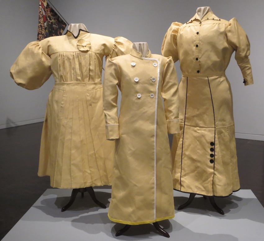 Kevlar Fighting Costumes (2015), by Nao Bustamente. An homage to the courageous women soldiers (soldaderas) who fought in the Mexico revolution (1910-20. Re-imagined traditional garments, only now with protection against bullets and knives.