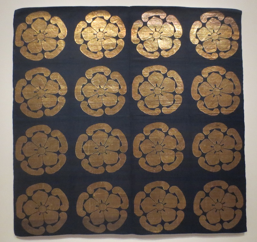 Japanese Buddhist altar cloth (uchishiki), early 1800s. Silk, gold leaf on paper strips, twill lampas, supplementary-weft patterning.