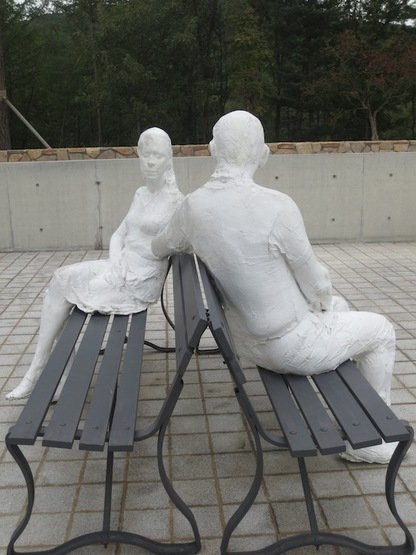 """Couple on Two Benches"" (1985), by George Segal."