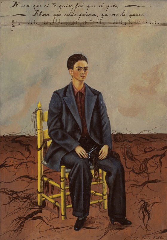 """Self-Portrait with Cropped Hair"" (1940), by Friday Kahlo. Museum of Modern Art, New York City. Source: http://www.moma.org/collection/works/78333"