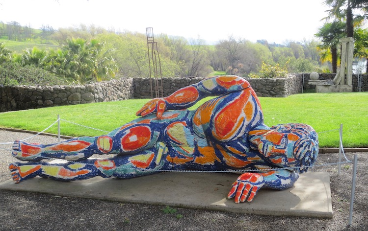 Reclining Nude #2 (1987), by Viola Frey. Ceramic. Residence Gallery courtyard.