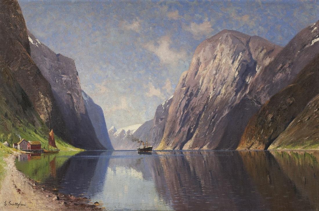"""Fjord with Steamer"" (1871), by Elisabeth Grüttefien-Kiekebusch. Source: https://commons.wikimedia.org"
