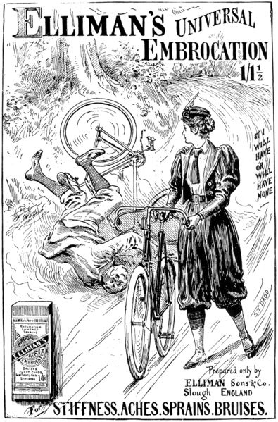 "1897 advertisement in ""The Graphic"" for Elliman's Universal Embrocation (manufactured in Slough, England). Source: https://commons.wikimedia.org"