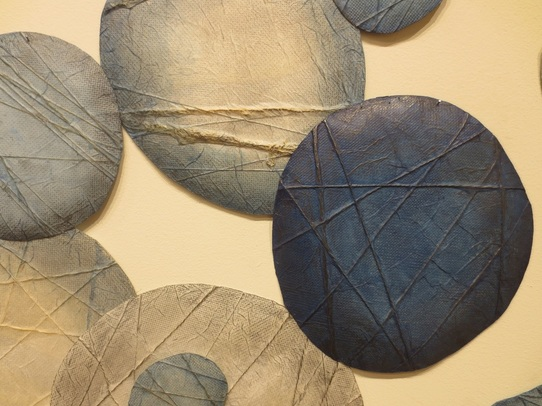 "Detail of ""Puku, Puku, Puchi, Puchi"" (stainless mesh, paper, yarn, indigo, pencil), by Yoko Kataoka (Tokyo).  ""Best of Show"" at Fiber Arts VII (2015), Sebastopol Center for the Arts, Sebastopol, CA."