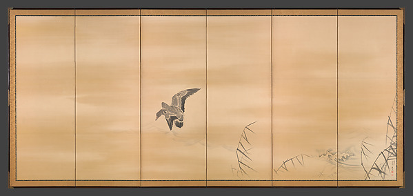 """Goose and Reeds, Willow and Moon."" Pair of six-panel folding screens; ink, color and gold on paper, by Maruyama Ōkyo (Japanese, 1733–1795). Metropolitan Museum of Art, NY."
