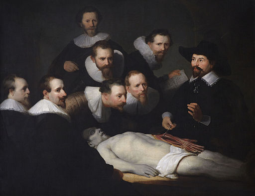 The Anatomy Lesson of Dr. Nicolaes Tulp  (1632), by Rembrandt van Rijn. The Hague,   Mauritshuis.  Source: https://commons.wikimedia.org/