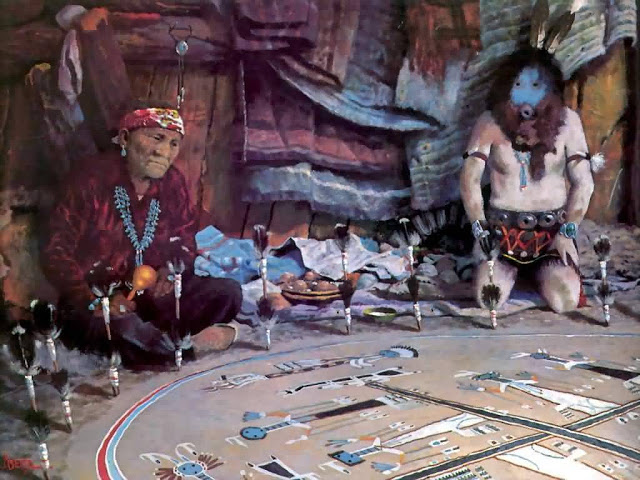 Navajo sand-painting ceremony.  Source: http://maninthemaze.blogspot.fr/2011/06/sacred-art-of-navajo-sandpainting.html