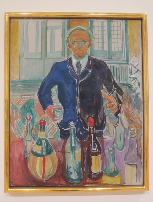 """Self-Portrait with Bottles"" (ca. 1938), by Edvard Munch. Munch Museum, Oslo."