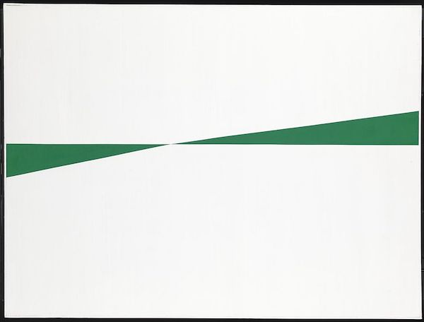 """White and Green"" (1959), by Carmen Herrera. The Tate, London . Source:  https://commons.wikimedia.org/"