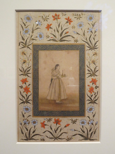 """""""Woman carrying a tray"""" (approx. 1600-1650), India or Pakistan. Watercolors and gold on paper. Asian Art Museum, San Francisco."""