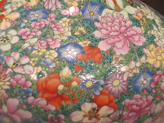 """Detail of vase with """"one hundred flowers"""" motif. Asian Art Museum, San Francisco."""