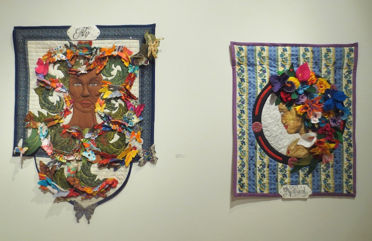 """Fly"" (2017) + ""Natural"" (2015), by LaQuita Tummings. Textiles, beads, 3-D butterflies. Berkeley Art Center."