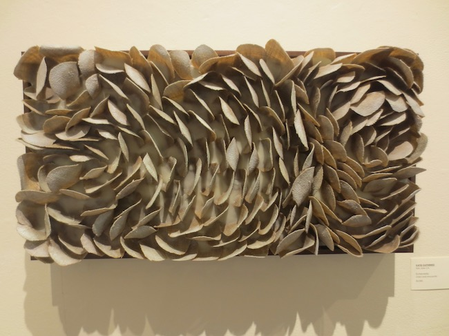 """Echeveria,"" by Katie Gutierrez. Linen and encaustic. Marin MOCA."