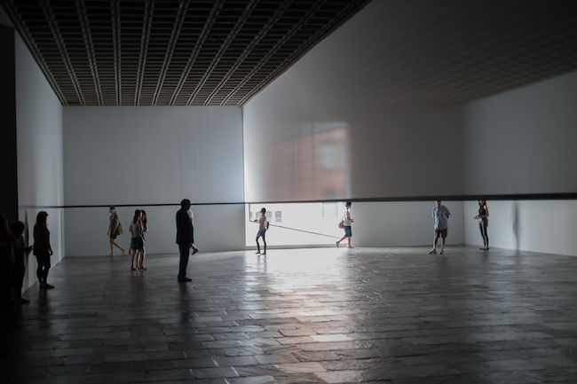 """Scrim Veil—Black Rectangle—Natural Light"" (1977), by Robert Irwin. Whitney Museum of American Art, New York.  Source: https://commons.wikimedia.org/"