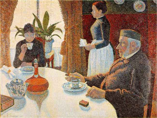 """Le petit déjeuner ""   (1886-87), by Paul Signac. The Kröller-Müller Museum, Otterlo, Netherlands. Source: https://commons.wikimedia.org"