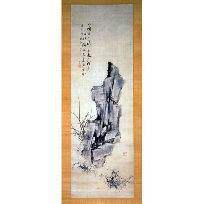 """Rocks and Orchids ( Seoknan ),"" (1910), by Jeong Hak-gyo. Hanging scroll, ink on silk. Asian Art Museum, San Francisco. Source: http://asianart.emuseum.com/view/objects/asitem/23143"