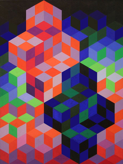 """Duo-2"" (1967), by Victor Vasarely. Source: https://www.masterworksfineart.com/artists/victor-vasarely/painting/duo-2-1967/"