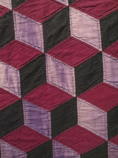 "Detail of Amish ""Tumbling Blocks"" quilt, Ohio or Indiana, 1920s. ""Quilts and Color: The Pilgrim/Roy Collection,"" Museum of Fine Arts, Boston, 2014."