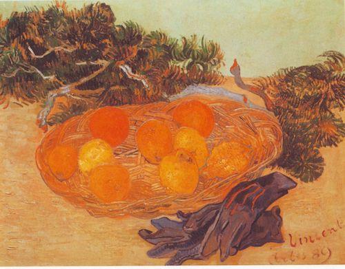 """""""Stilleben: Früchtekorb und Handschuhe """"  (1889), by Vincent van Gogh. Source: https://commons.wikimedia.org/wiki/Vincent_van_Gogh"""