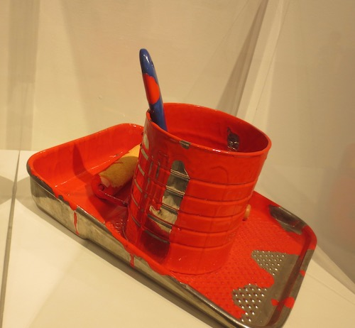 """Painter's Tray"" (2003), by Victor Spinski. Ceramic, whiteware, glazes, and lusters. Collection of Chris Rifkin. Fuller Craft Museum, Brockton MA."