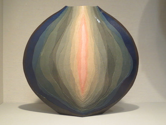 """Genesis"" (2009), by Miyashita Zenji. Stoneware with gradated colored clay ( saidei ). Metropolitan Museum of Art, New York."