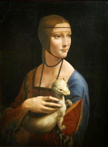 """Lady with an Ermine"" (1489-90), by Leonardo da Vinci. National Museum, Kraków, Poland. Source:     commons.wikimedia.org"
