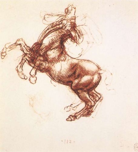 Study of rearing horse (1503-04), by Leonardo da Vinci.   Royal Library, Windsor Castle, England.   Source:  commons.wikimedia.org