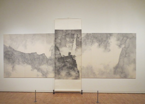 """Dragons Amidst Mountain Ridge"" (2006-9), by Li Huayi. Ink on paper. A set of six panels overlaid with a hanging scroll."
