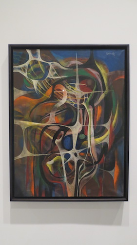 """Membrane, No. 239,"" oil and pastel on canvas, by Gerome Kamrowski (1942-43). Los Angeles County Museum of Art."
