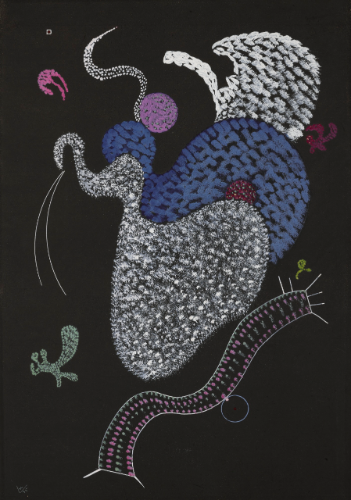 """Pointille"" (1935), gouache on black card, by Wassily Kandinsky. Source: www.sothebys.com/"