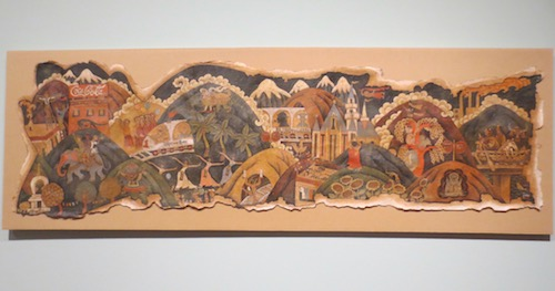 """Lhasa Train"" (2006), by Gade. Acrylic and mineral pigments on handmade paper mounted on canvas."