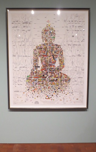 """Buddha in Our Times"" (2010), by Gonkar Gyatso. Screen print, gold and silver leaf on paper."