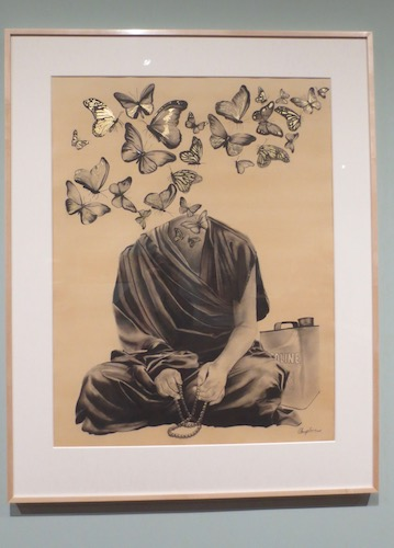 """Ahimsa"" [""non-violent protest""] (2016), by Chungpo Tsering. Charcoal and gold leaf on paper."