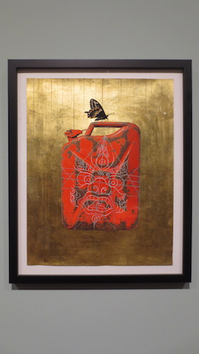 """Gas Can"" (2012), by Tsherin Sherpa. Archival ink, gold leaf, and gouache on paper."