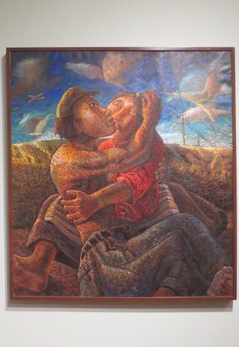 """Lovers, No. 6"" (2003), by Tsering Nyandak. Oil on cotton canvas. Created in a near-pointillism style, this contemporary version of the traditional father-mother (yab-yum) pairing is both rustic and modern, with an airplane, electrical lines, and odd clouds as part of the scenery."
