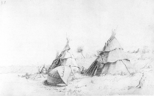Ojibway camp on Lake Huron sketch, by Paul Kane. Source: commons.wikimedia.org/