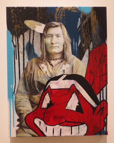 Faces of Indian Country 2  (2018), by Gregg Deal. Mixed media on canvas.