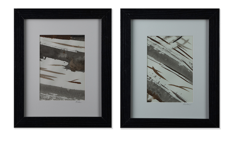 "Flow I, II  (diptych) 11.75""x20.5""  sumi and walnut inks; watercolor paper"
