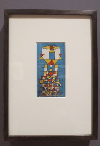 Postkarte zur Bauhaus Ausstellung  Die Erhabene Seite (Postcard for the Bauhaus exhibition  The Sublime Aspect ) (1923), by Paul Klee; color lithograph.