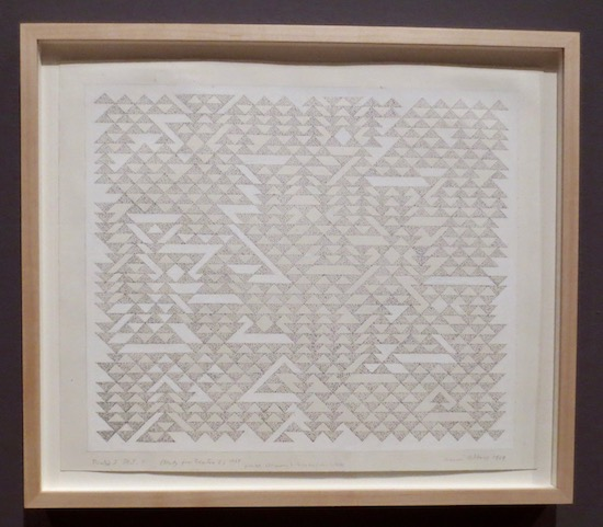 Triadic I DR I  (Study for Triadic I) (1968), by Anni Albers; ink and correction fluid on paper.