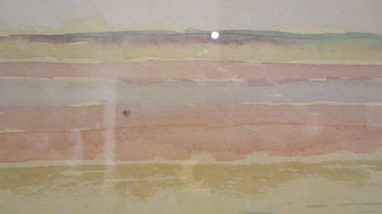 Detail of  Nord see insel  (North Sea Island) (1923), by Paul Klee; watercolor on paper mounted to paper with gouache, mounted on board. An exercise in color penetration, allowing horizontal bands of color to permeate one another in a vertical gradation—a polyphony of watercolors.