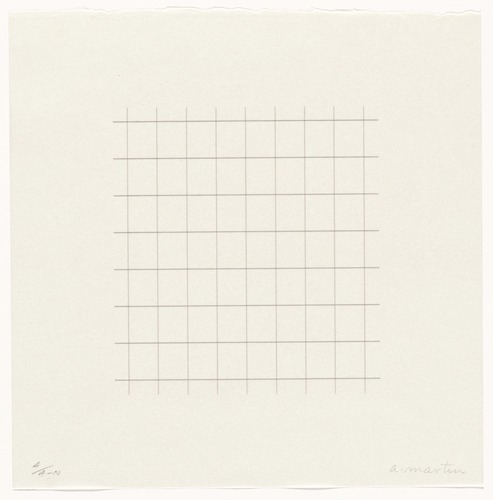 "From  Untitled (Study for ""On a Clear Day""),  1972, by Agnes Martin; graphite on paper."