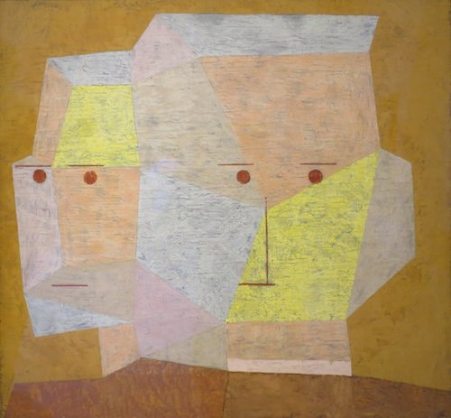 Zwei Kopfe (Two Heads)  (1932), by Paul Klee. Oil and pencil on canvas; 31 3/4 x 33 3/8 inches. Pasadena, CA, Norton Simon Museum. Source: commons.wikimedia.org/