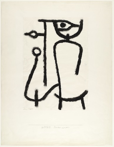 Dame abseits  (Lady Apart) (1940), by Paul Klee. Pigmented paste on paper on board; 25 1/2 x 19 1/4 inches. New York, The Museum of Modern Art. Source: The Museum of Modern Art.