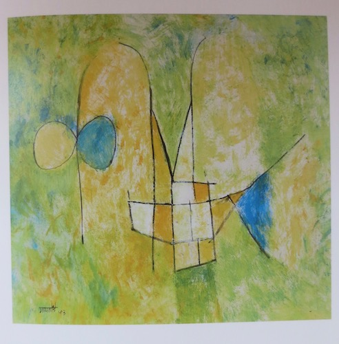 Untitled  (1953), by V.S. Gaitonde. Pastel and watercolor on paper; 14 3/4 x 14 1/4 inches. Mumbai, Tata Institute of Fundamental Research. Source: Sandhini Poddar,  V.S. Gaitonde: Painting as Process, Painting as Life  (New York, Munich, London: Prestel/DelMonico Books, 2014).