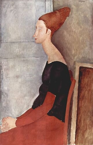 Porträt der Jeanne Hébuterne in dunkler Kleidung  (1918) ,  by Amedeo Modigliani. Private collection, Paris. Source:  commons.wikimedia.org/