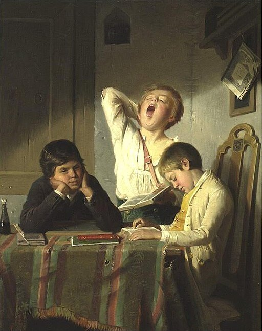 Bored with Lessons,  by August Heyn (1831-1920). Source: commons.wikimedia.org/