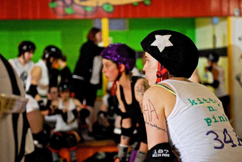 Kitty N. Pink takes her place at the jammer line during A2D2's inaugural Friends & Family scrimmage, May 2011. |  AndrewPotterPhoto.com