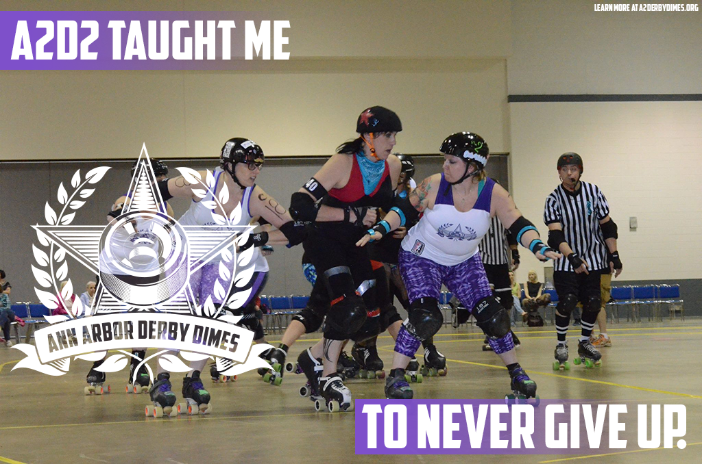 """""""When I started boot camp, learning to roller skate was one of the hardest things I had ever done. I started to convince myself that living with two chronic illnesses meant that I could not and should not play roller derby. But this league showed me that as long as I didn't give up, I would eventually be able to really play this game. It may take you longer than your teammates, but if you want it and you believe you can do it... you will."""" -Amelia SpareParts, Ypsilanti Vigilantes skater and A2D2 Sponsorship person  Learn how  A2D2 helps you achieve your goals .  Photo: Tom Kusch"""